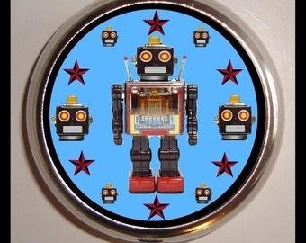 Retro Robot Pill Box Pill Case Holds Vitamins, medicine, pills, trinkets, buttons, sewing supplies, birth control case