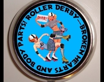 Roller Derby Pill box Pillbox Case Holder New War Brawl Skaters Skating Broken Hearts and Body Parts Pin Up Retro Gift for Derby Girl Wife