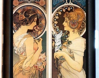 Alphonse Mucha Cigarette Case Primrose Beauties Art Nouveau Edwardian ID Business Card Credit Card Holder Wallet