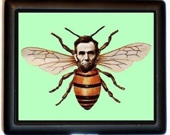 Abraham Lincoln Honey Bee Cigarette Case Business Card Holder Wallet Surreal Altered Art Insect Pop Surrealism Lowbrow Oddity