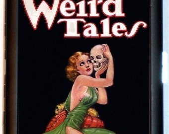 Weird Tales Skull Cover Pulp Magazine Cigarette Case Business Card Holder Wallet
