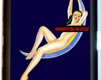 Nude Pinup Girl on Moon Cigarette Case Credit Card Wallet Honey Moon Classic Thirties Cute sexy