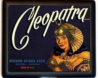 Cleopatra Cigarette Case Art Nouveau Deco Fruit Label Egyptian Egypt Queen Royalty ID Business Card Credit Card Holder Wallet