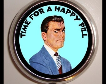 Time For A Happy Pill Man Being Grumpy Look Retro Kitsch Design Sweetheartsinner Stainless Steel Pill Box Case