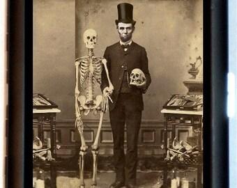 Abraham Lincoln Skeleton Cigarette Case Altered Art Victorian Macabre Goth Skull Creepy ID Business Card Credit Card Holder Wallet