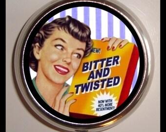 Bitter and Twisted Pill Box Retro Humor Sweetheartsinner Pill Case Holder Kitsch