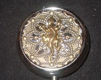 Victorian Steampunk The Lizard King Gecko Pill Case Pill Box Or Trinket Box NEW Sweetheartsinner