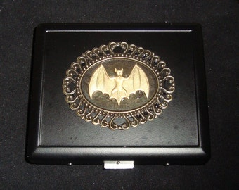 Steampunk Gothic Brass Bat Cigarette Case or Business Card Case or Wallet NEW
