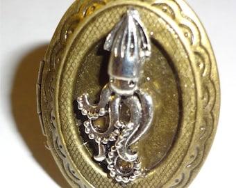 "Victorian Steampunk ""Squid Pro Quo"" Handmade Nautical Octopus Locket Ring"