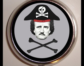 Pirate Edgar Allan Poe Pill box Pillbox Case Holder for Vitamins Drugs Birth Control Goth Lowbrow Art Skull and Crossbones Goth Author Art