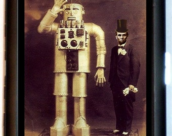 Abraham Lincoln Robot Steampunk Cigarette Case Victorian Altered Art Sci Fi Artwork ID Business Card Credit Card Holder Wallet