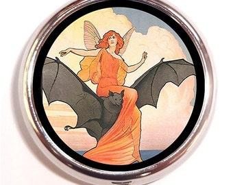 Art Nouveau Fairytale Storybook Woman Riding Bat Pill Box Pillbox Case Trinket Box Vitamin Holder