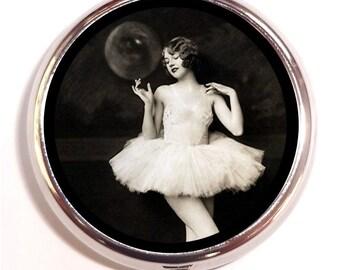 Flapper Ballerina Pill Box Pillbox Case Art Deco Dancer Follies in Tutu Trinket Box Vitamin Holder Jazz Age Pin Up Pinup Roaring 1920's
