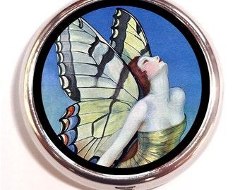 Art Deco Butterfly Pill Box Pillbox Case Flapper Art Nouveau Edwardian Art on Trinket Box Vitamin Holder Medicine Guitar Picks Box Jazz Age