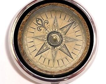 Steampunk Compass Pill Box Pillbox Case Trinket Box Vitamin Holder Victorian Compass Image Pop Art Holds Guitar Picks Medicine