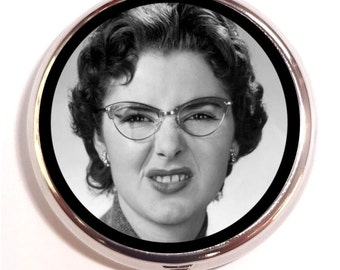 Retro Snarky Woman Pill Box Pillbox Case Trinket Box Vitamin Holder 1950s Woman in Vintage Glasses Kitsch Medicine Guitar Pick Holder