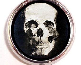 Skull Illusion Metamorphic Victorian Goth Two Women Pill Box Pillbox Case Trinket Box Vitamin Holder