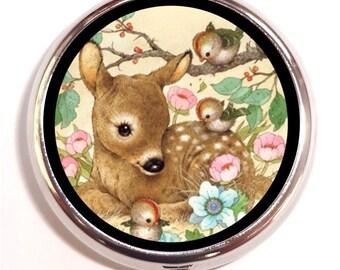 Deer Woodland Creatures Pill Box Pillbox Case Birds Flowers Whimsical Kawaii Kitsch Trinket Box Vitamin Holder Medicine Guitar Pick Box