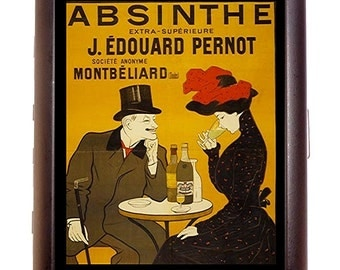 Absinthe Poster Cigarette Case Business Card Case or Metal ID wallet