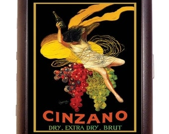 Vintage Wine Poster Cigarette Case Business Card Case or wallet Cinzano French Poster Art Illustration Wine Country