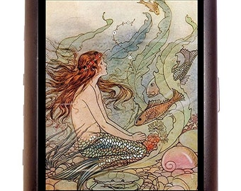 Fantasy Mermaid Cigarette Case Business Card Case wallet Mermaid Artwork With Fish Under the Sea
