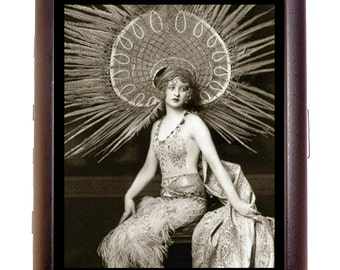 Flapper Art Deco Cigarette Case Follies Performer in Costume Jazz Age Great Gatsby 1920's ID Business Card Credit Card Holder Wallet