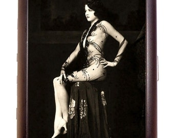 Flapper Art Deco Follies Woman on Stool Cigarette Case Business Card Case or Metal ID wallet
