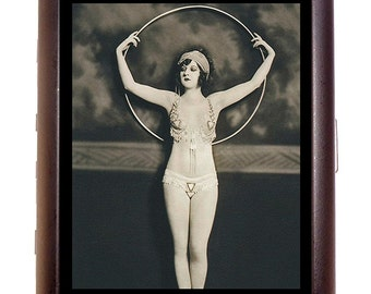 Flapper Art Deco Cigarette Case Art Nouveau Ziegfeld Follies Woman With Big Hoop Dancer ID Business Card Credit Card Holder Wallet