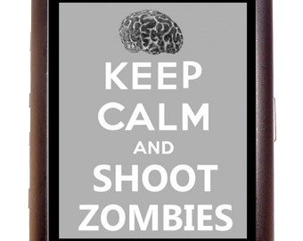 Keep Calm and Shoot Zombies Cigarette Case Business Card Case wallet Horror Goth Parody