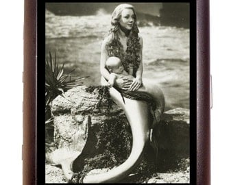 Mermaid With Baby Cigarette Case or Business Card Case or Metal ID wallet Retro 1950s Kitsch