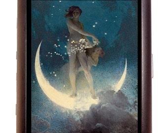 Fairy Moon Cigarette Case Fantasy Artwork Celestial Art Nouveau Deco ID Business Card Credit Card Holder Wallet