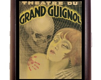 French Theater Cigarette Case Necromance Art Deco Skeleton & Woman Flapper Roaring 20's ID Business Card Credit Card Holder Wallet