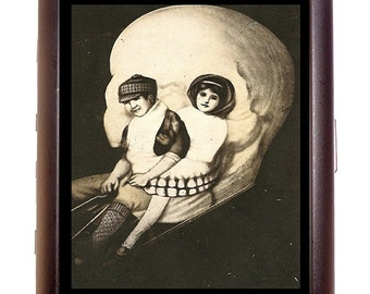Victorian Skull Illusion Cigarette Case Metamorphic Kids on Sled Business Card Case or Metal ID wallet