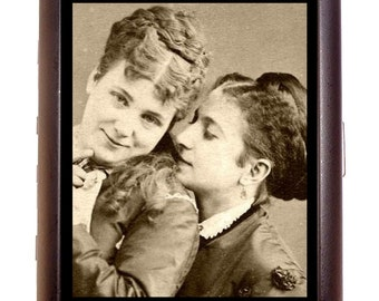 Victorian Lesbian Lovers Cigarette or Business Card Case or Metal ID wallet Gay Romance LGBT Homosexuality in History Antique Photography