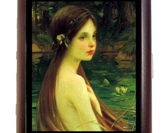Fantasy Fairy Sea Nymph Cigarette Case Business Card Case or Metal ID wallet FairyTale Artwork