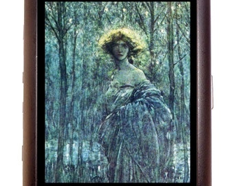Fantasy Art Cigarette Case Forest Woman Whimsical Storybook Fairy Tale Fairytale Mysterious ID Business Card Credit Card Holder Wallet