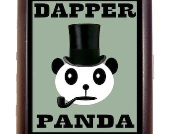 Dapper Panda Bear Cigarette Case Business Card Case or wallet Victorian Steampunk Kitsch Inspired Kawaii Top Hat Pipe