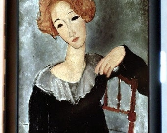 Surrealistic Woman Mogdaliani Painting Cigarette Case Business Wallet Surrealism Mogdaliani