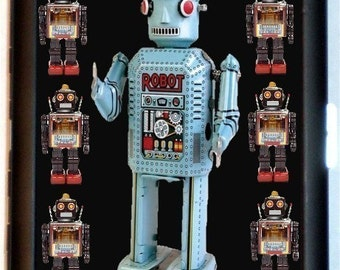 Japanese Robot Cigarette Case Image of Japan Metal Toy Kitsch Retro Robots Sci Fi Quirky ID Business Card Credit Card Holder Wallet