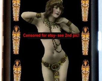 Nude Cleopatra Cigarette Case or Business Card Holder Case Wallet Art Deco Flapper Pinup Egyptian Queen King Tut Tomb Raider