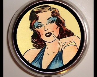 Comic Pinup Pin Up Rockabilly Pillbox Pill Box Case Holder for Vitamins Pills