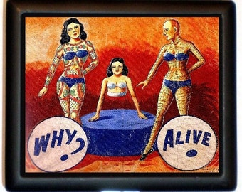 Sideshow Banner Tattooed Ladies Cigarette Case Business Card Case Wallet Sideshow Freak Circus