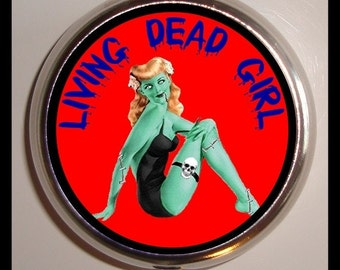 Zombie Pinup Pill box Pillbox Case Holder for Vitamins Drugs Birth Control Living Dead Girl Zombies Goth Pin Up Rockabilly Horror Gothic
