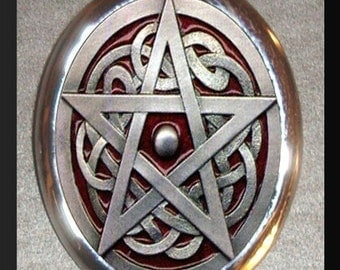 Wiccan Pentagram Wicca Witch Silver Plated Brooch Pin Nature Goddess Three-fold Law All good that a person does to another returns three-fold in this life harm is also returned three-fold