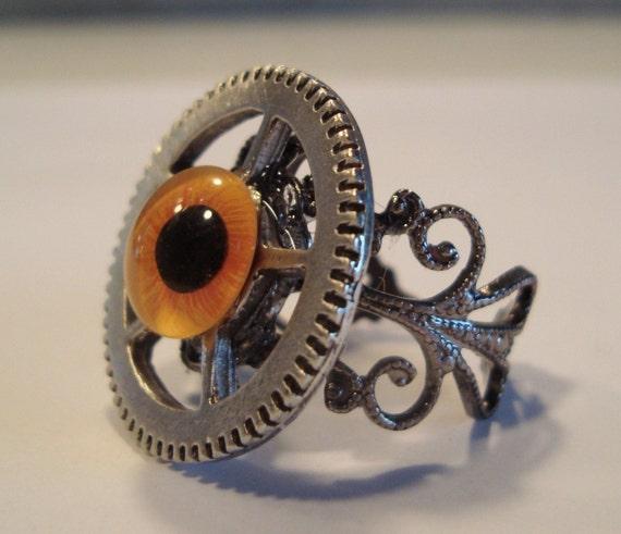 Victorian Steampunk OCULA MACHINUS Orange Glass Eye Gear Watch Clock Ring