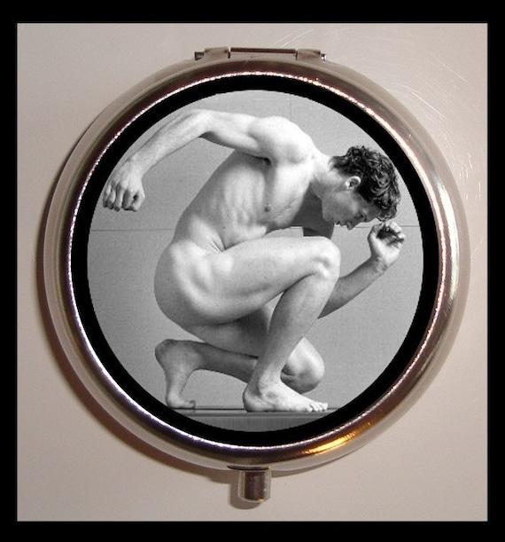 Naked Man Pill Box Pillbox Case Gay Interest Naked But No Nudity Fine Art Trinket Box Holds Vitamins Medicine Guitar Picks Muscle Man