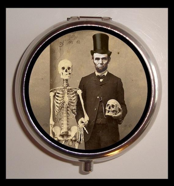 Abe Lincoln & Skeleton Pill Box Case Pillcase