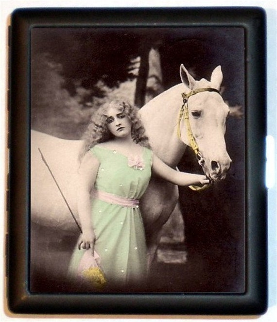 Art Nouveau Horse Woman Cigarette Case Riding Rider Equestrian Horses Edwardian Art Deco ID Business Card Credit Card Holder Wallet