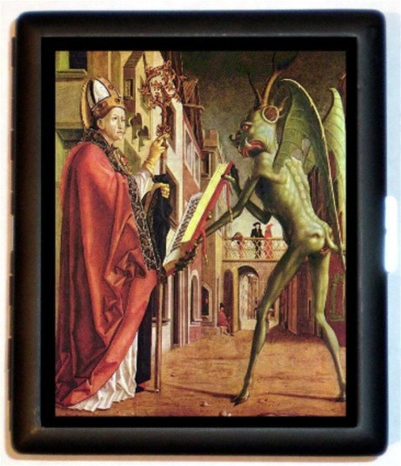 Pope with His Pet Alien Cigarette Case or ID Case or Business Card Wallet Sweetheartsinner 15th Century Surreal Painting