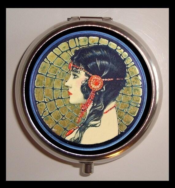Flapper Profile Pill Box Case Pillbox Gypsy Bohemian Art Deco Woman with Headdress Jazz Age Roaring 1920s Iconic Trinket Box Vitamin Holder